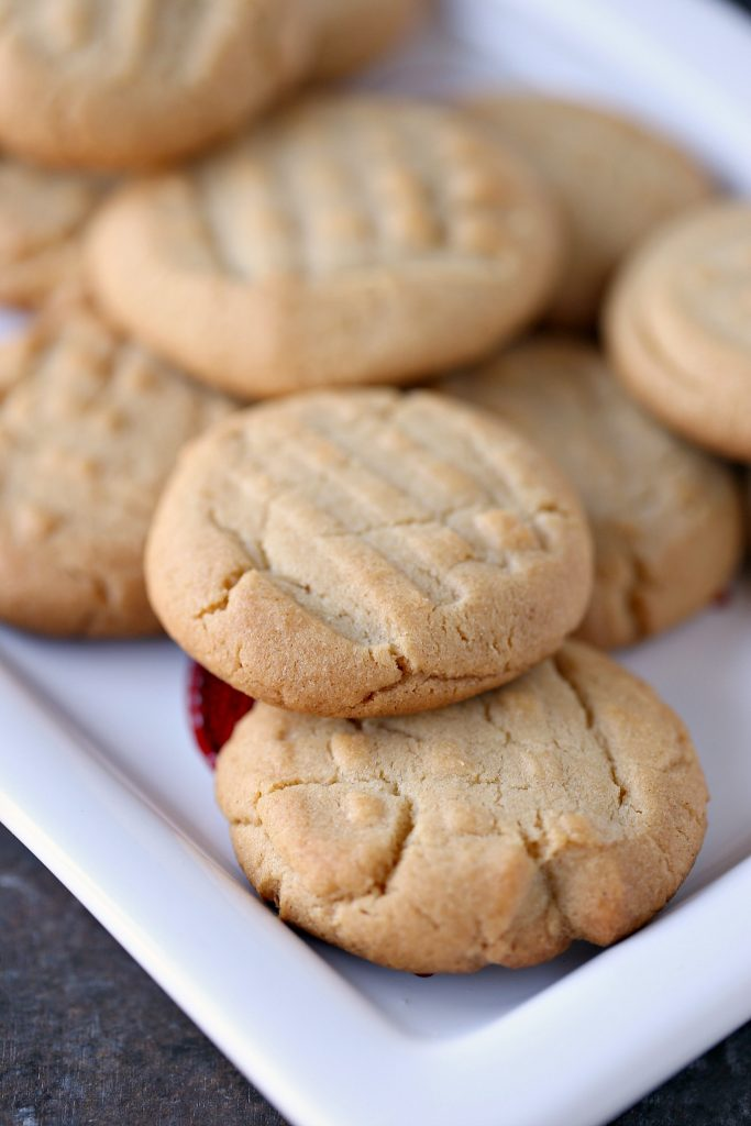peanut butter cookies on a white platter