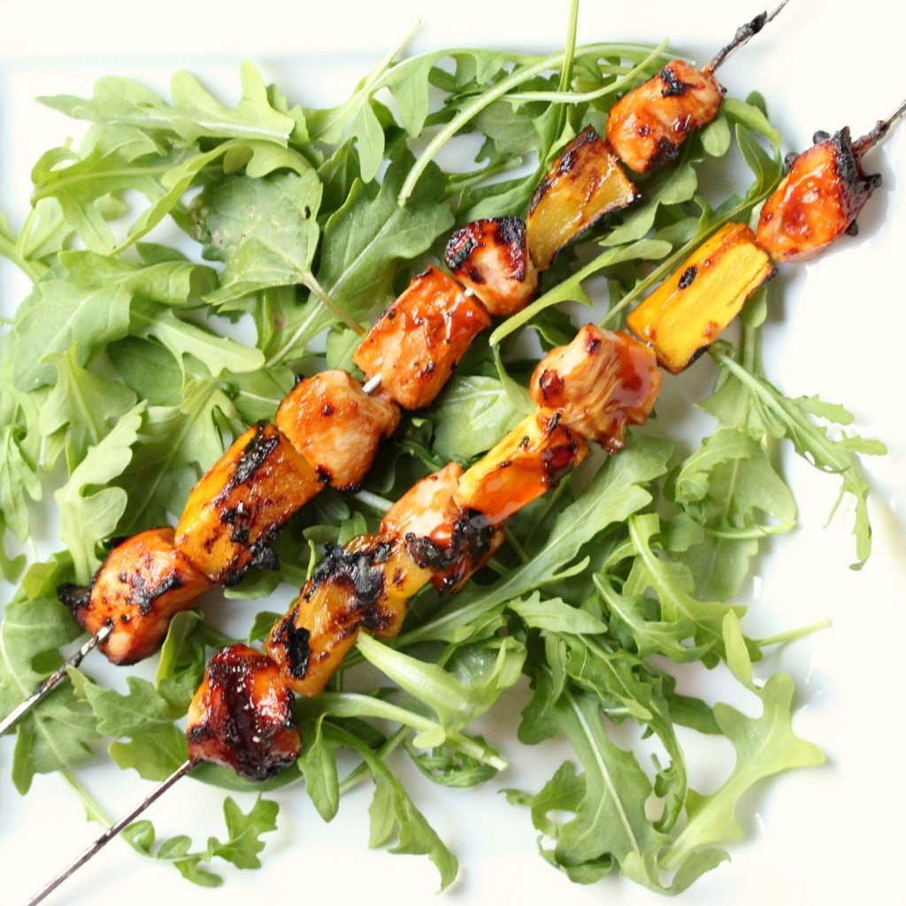 Chicken, Mango, and Papaya Kebabs | Absolutely spectacular fruit and chicken kebabs.