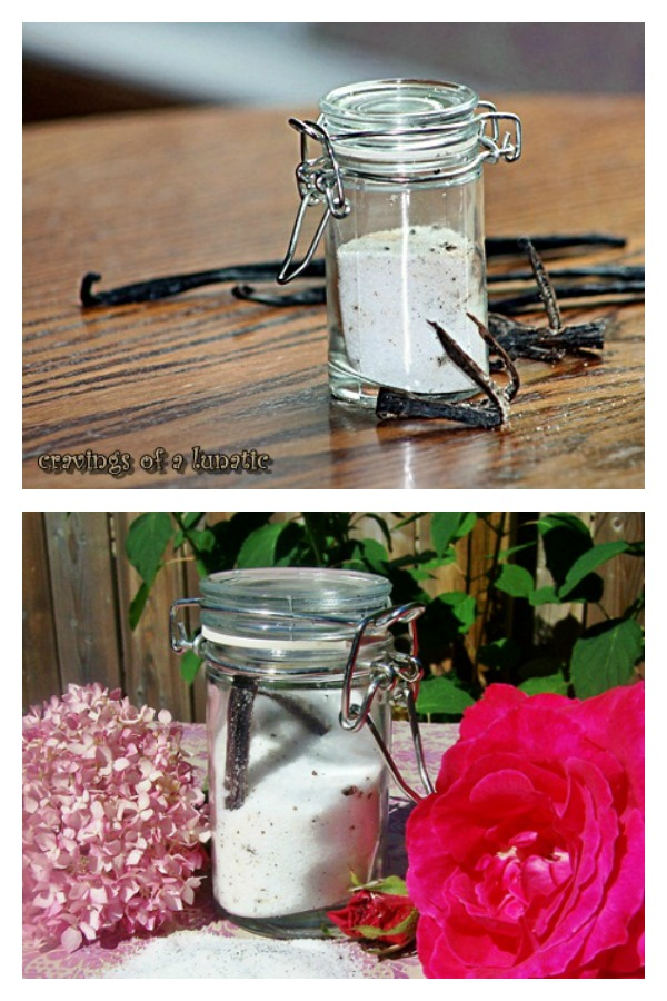 Homemade Vanilla Salt from cravingsofalunatic.com- How to make vanilla flavoured salt. This DIY recipe is easy and perfect to give as a gift for the holidays!