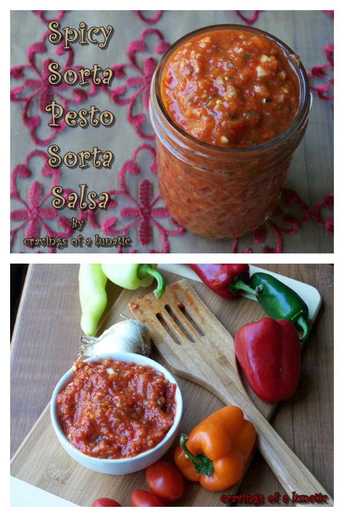 Spicy Sorta Pesto/ Sorta Salsa from cravingsofalunatic.com- This easy recipe works as both a pesto and a salsa. Pile this delicious condiment on everything you can find!