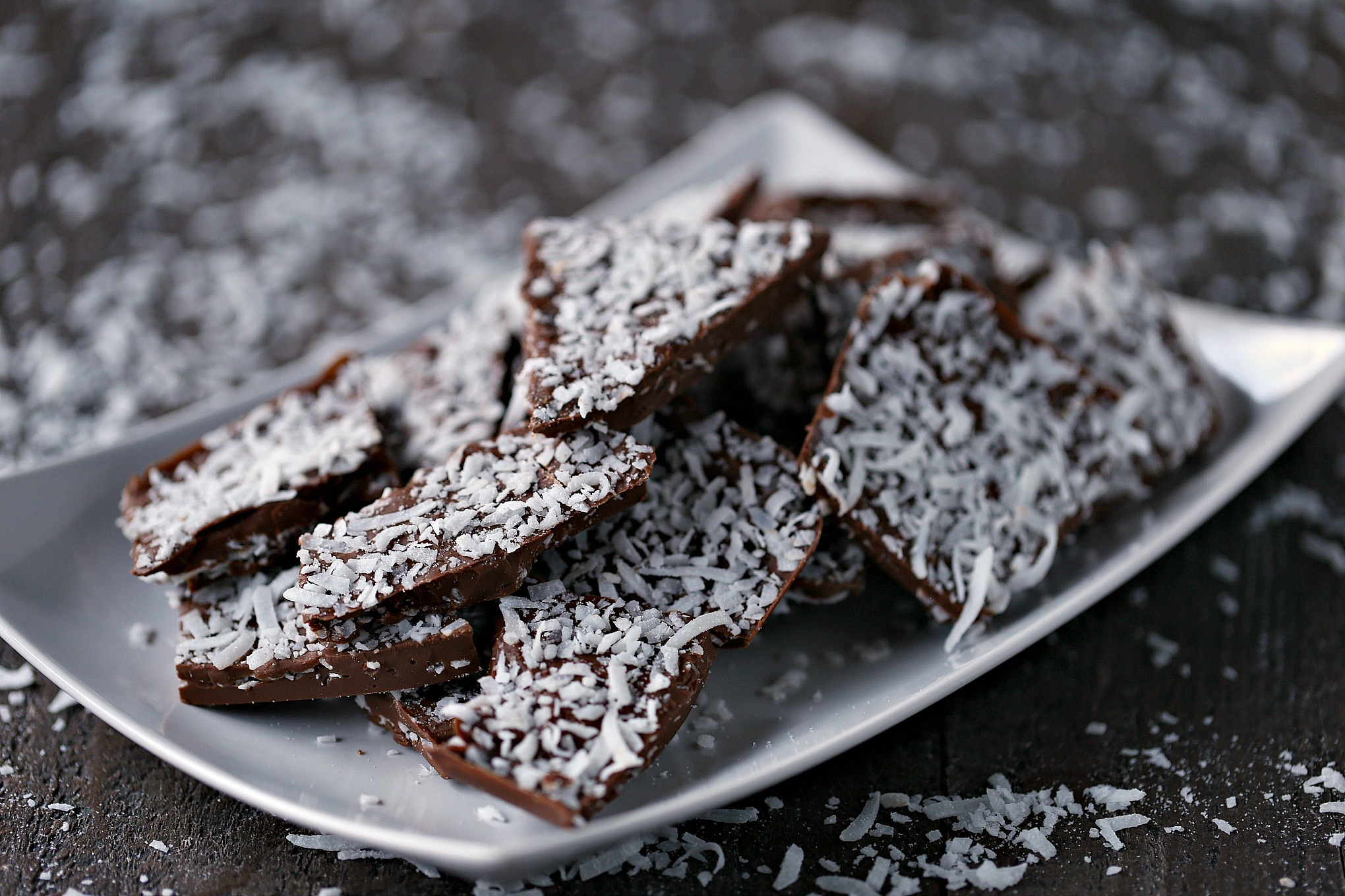 Chocolate Coconut Bark on a white plate.