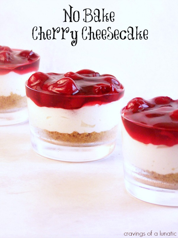 No Bake Cherry Cheesecake from cravingsofalunatic.com- My family's favourite cheesecake recipe. This no bake recipe is quick and easy to make.