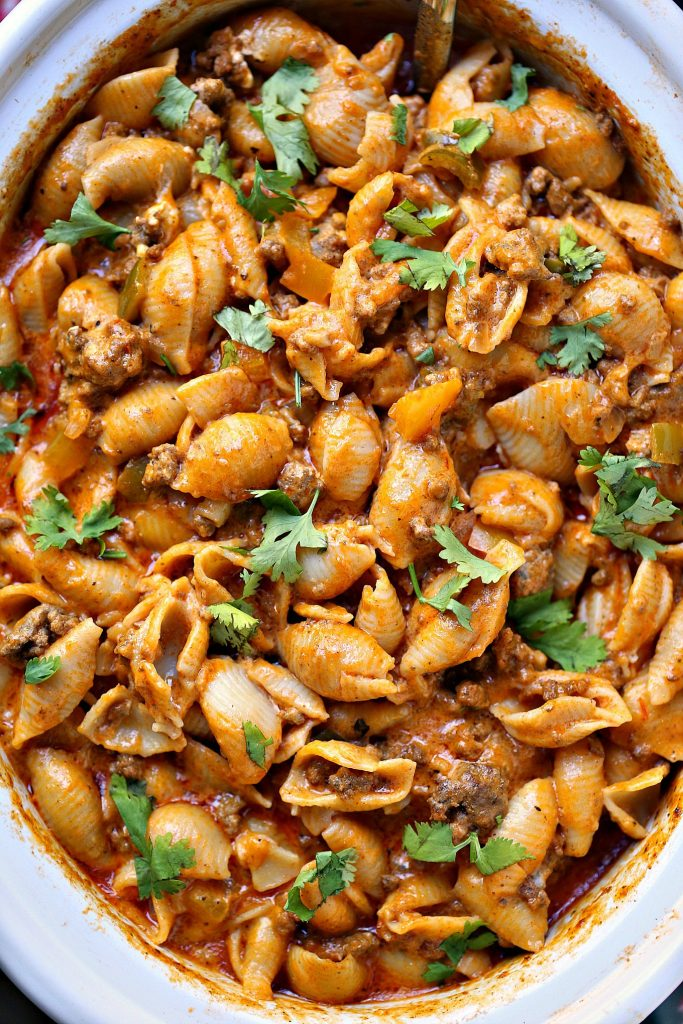 overhead image of Slow Cooker Taco Pasta