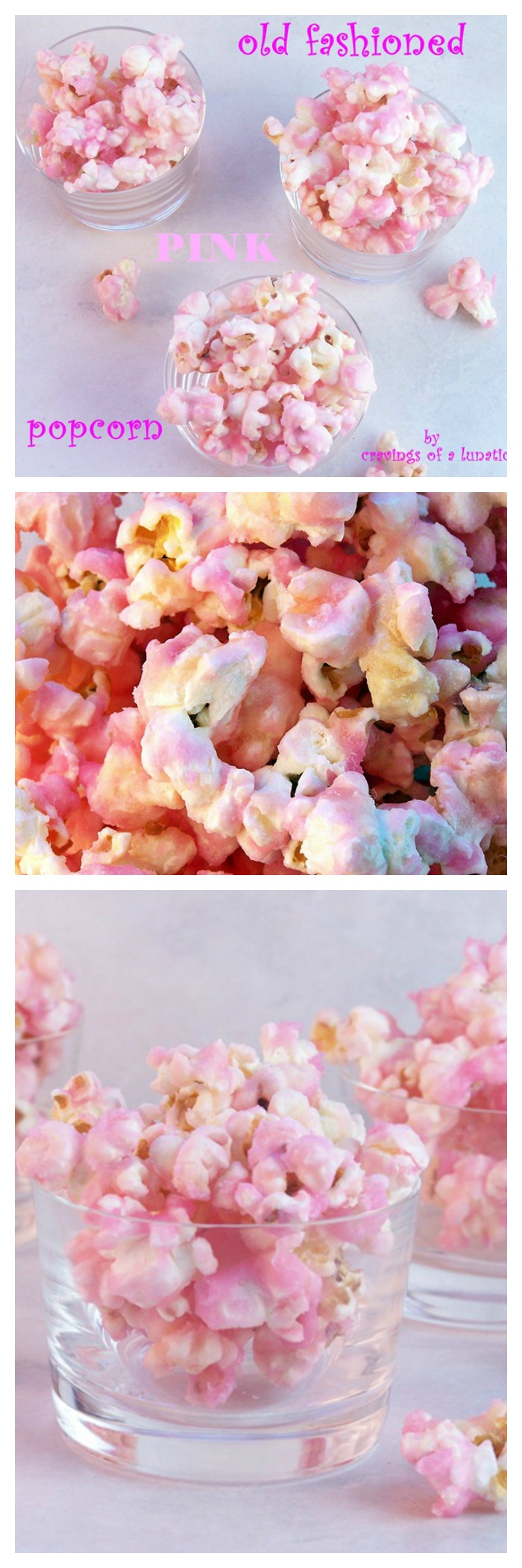 Old Fashioned Pink Popcorn from cravingsofalunatic.com- Old fashioned pink candy popcorn, it's seriously delicious and reminds me of my childhood. I hope you love it as much as I do! (@CravingsLunatic)