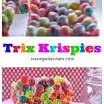 Trix Krispies from cravingsofalunatic.com. Super easy to make cereal treats made with Trix Cereal. Your family and friends will love these. Simple, quick and incredibly tasty. Not to mention they are just seriously eye catching!