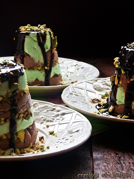 Pistachio Chocolate Frozen Mousse | Cravings of a Lunatic | Super easy to make. Uses jello for the layers!