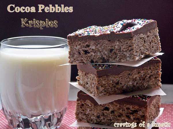 Cocoa Pebbles Krispies served with milk for a fun after school treat!