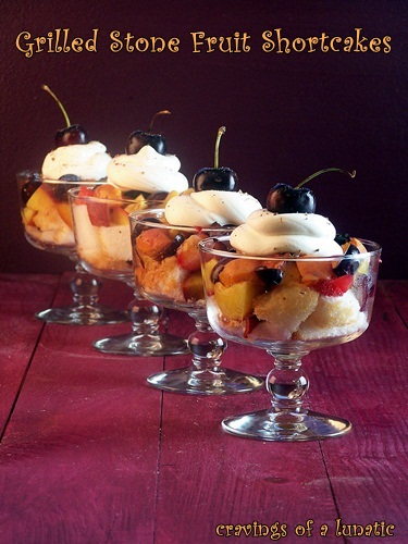 Grilled Stone Fruit Shortcakes from cravingsofalunatic.com- A wonderful and healthy way to get your BBQ on! Grilled peaches, nectarines, plum, apricots and cherries piled on angel food cake and topped with whipped cream, cinnamon and nutmeg. You have to try this one! (@CravingsLunatic)