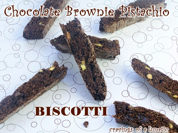 Chocolate Brownie Pistachio Biscotti by Cravings of a Lunatic
