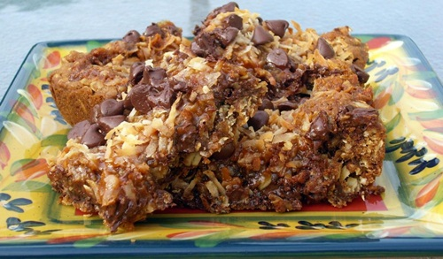Janet's Coconut Caramel Cookie Bars AKA Samoa Wanna Be Cookie Bars