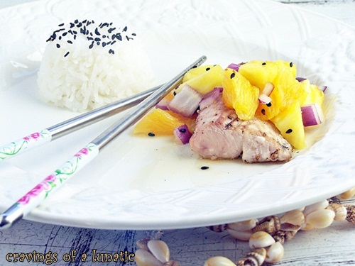 Mahi Mahi with Pineapple Salsa and Jasmine Rice with Black Sesame Seeds by Cravings of a Lunatic