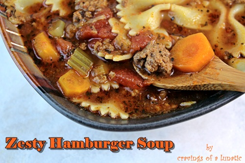 Slow Cooker Zesty Hamburger Soup | Cravings of a Lunatic | #slowcooker #soup #dinner