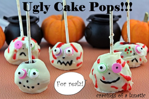 Monster Bites from cravingsofalunatic.com- Brownie cake pops made into monsters for Halloween!