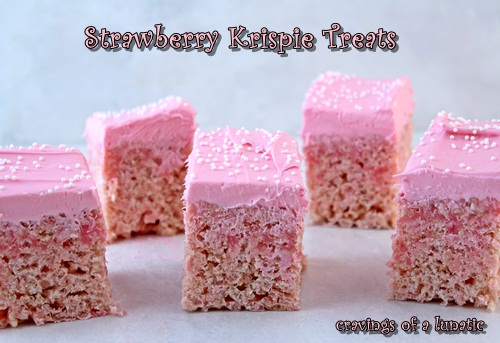 Strawberry Krispie Treats | Cravings of a Lunatic | #pink #krispies #dessert