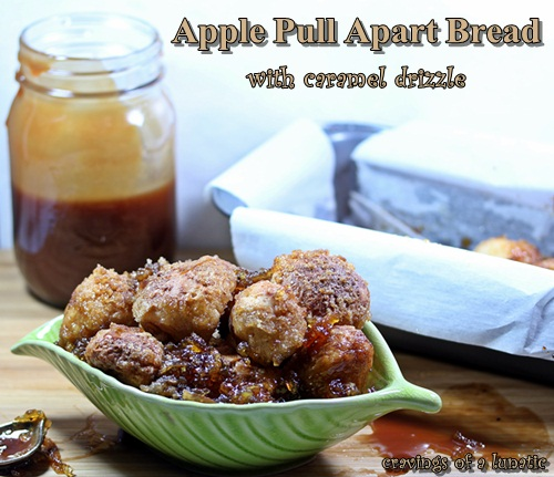 Apple Pull Apart Bread with Caramel Drizzle from cravingsofalunatic.com- A delicious monkey bread or pull apart bread loaded with apples and drizzled in caramel. Sure to be a hit for dessert or breakfast.