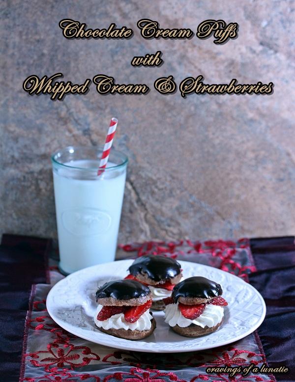 Chocolate Cream Puffs with Whipped Cream & Strawberries