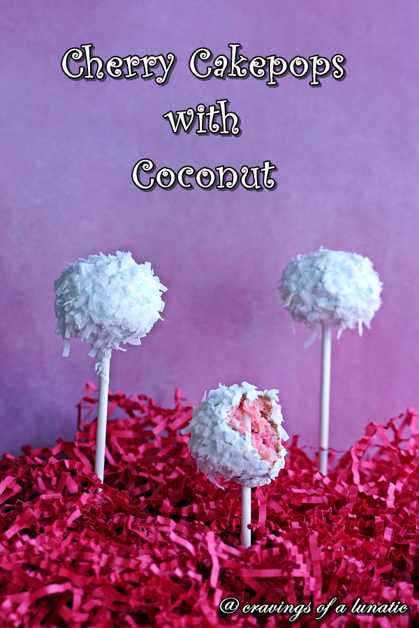 Cherry Cake Pops with Coconut