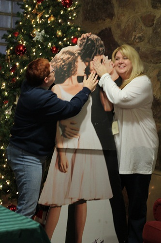 Kim and Jenni posing with the Dirty Dancing Cutout