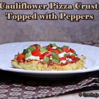 Cauliflower Pizza Crust topped with Peppers