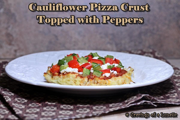 Cauliflower Pizza with Peppers. A healthy and delicious cauliflower base pizza topped with goat cheese and peppers.