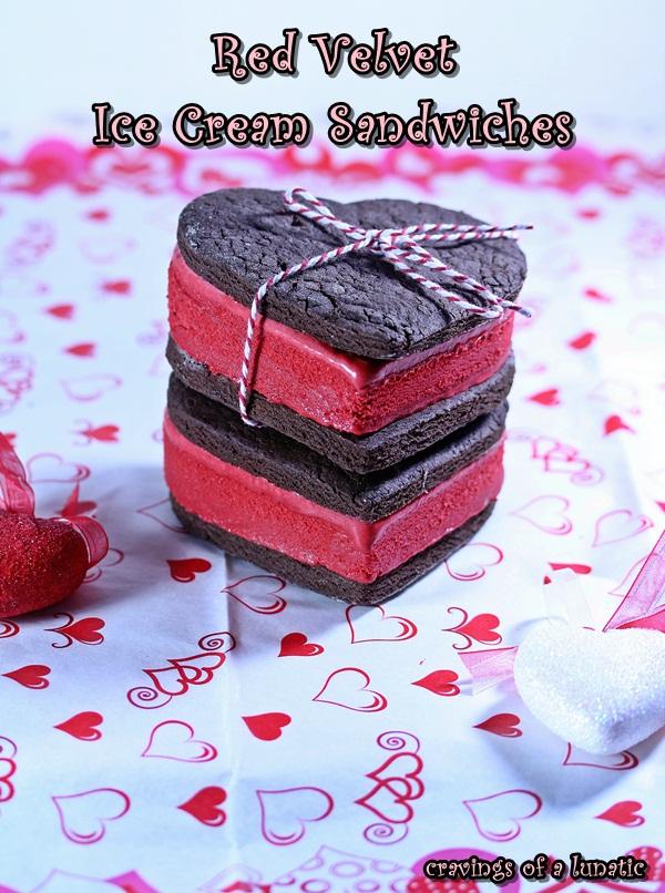 Red Velvet Ice Cream Sandwiches via Cravings of a Lunatic