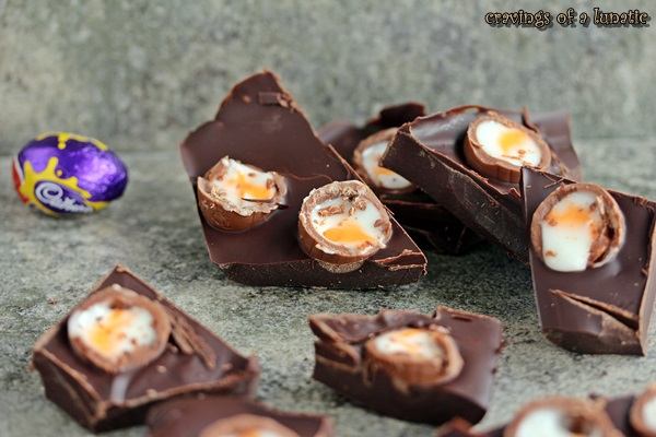 Creme Egg Bark by Cravings of a Lunatic