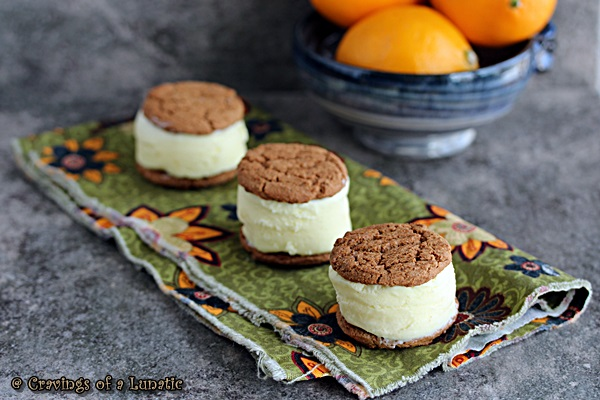 Meyer Lemon Ice Cream Sandwiches from cravingsofalunatic.com- Great recipe for a no egg, meyer lemon ice cream that is wedged between cookies to make a wonderful Meyer Lemon Ice Cream Sandwich.