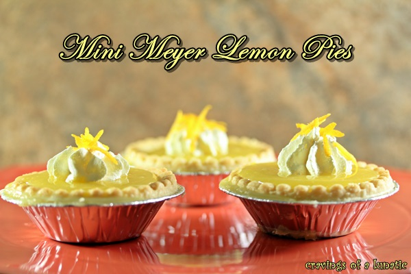Mini Meyer Lemon Pies. Simple Meyer lemon curd recipe poured into mini pie shells and topped with real whipping cream.