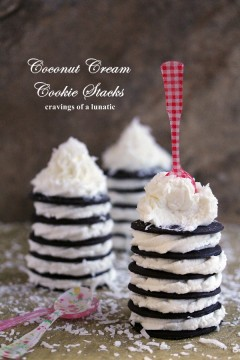 Recipe for Coconut Cream Cookie Stacks. Super easy to make and absolutely delightful to serve to guests! - cravingsofalunatic.com