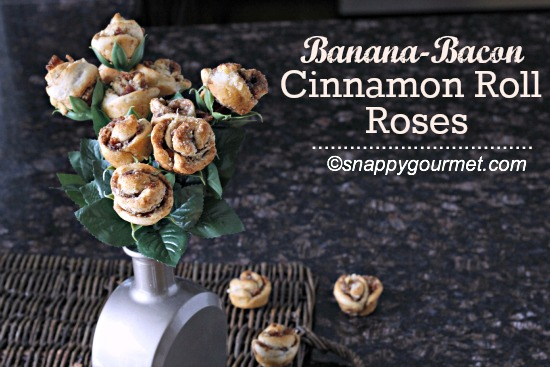 Banana Bacon Cinnamon Roll Roses