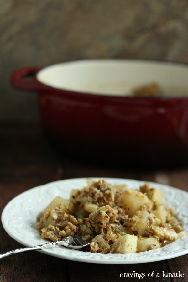 Pear, Apple and Pistachio Crumble by Cravings of a Lunatic