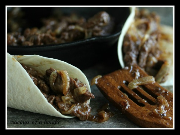 Spicy Steak Fajitas with Caramelized Shallots and Onions from cravingsofalunatic.com- Simple recipe to make Steak Fajitas with lots of caramelized shallots and onions.