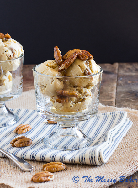 Brown Butter Butterscotch Pecan Ice Cream by The Messy Baker