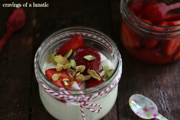Vanilla Bean Ice Cream with Strawberry Topping and Pistachios by Cravings of a Lunatic