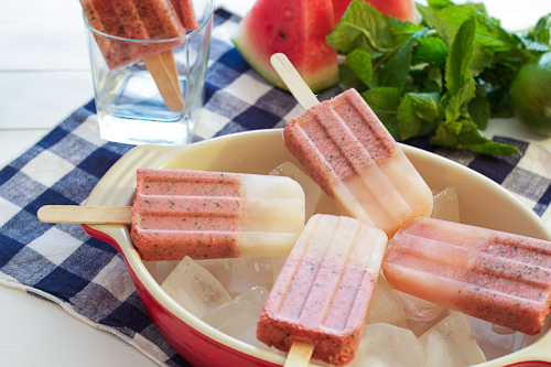 Watermelon Mojito Ice Pops by The Girl in the Little Red Kitchen