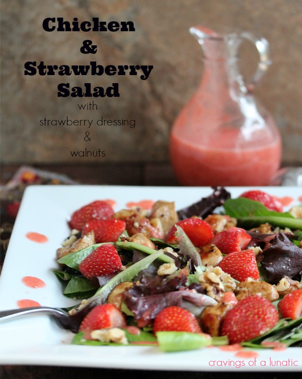 close up image of Chicken and Strawberry Salad with Strawberry Dressing and Walnuts from Cravings of a Lunatic