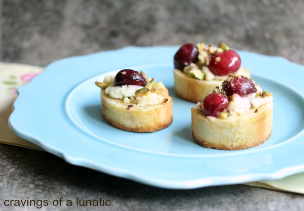 Crostini with Fresh Ricotta, Fresh Cherries and Pistachios