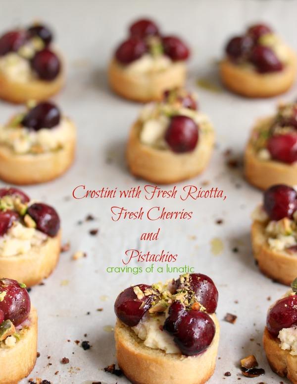 Crostini with Fresh Ricotta, Fresh Cherries and Pistachios
