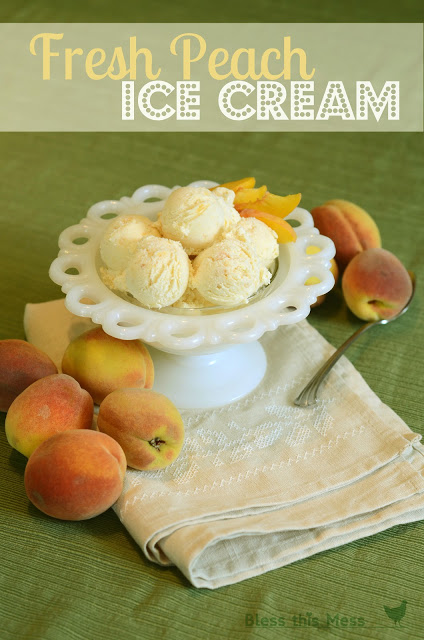 Fresh Peach Ice Cream by Bless This Mess