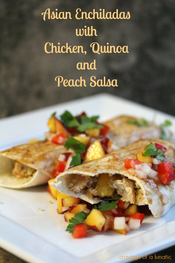 enchiladas made with quinoa, chicken and peach salsa on a white plate