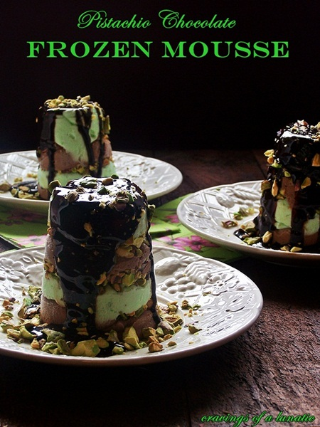 Pistachio Chocolate Frozen Mousse by Cravings of a Lunatic