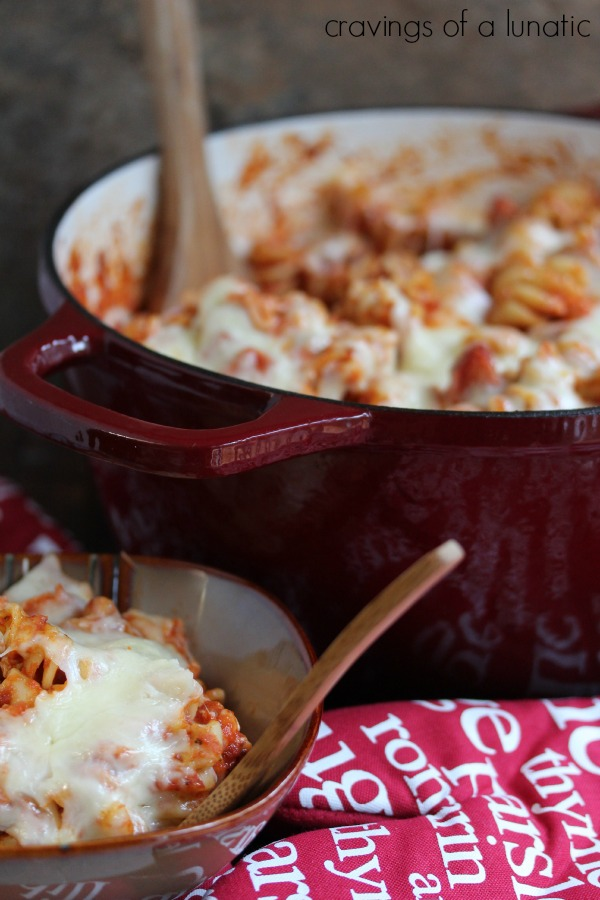easy pizza pasta cooked in a red dutch oven