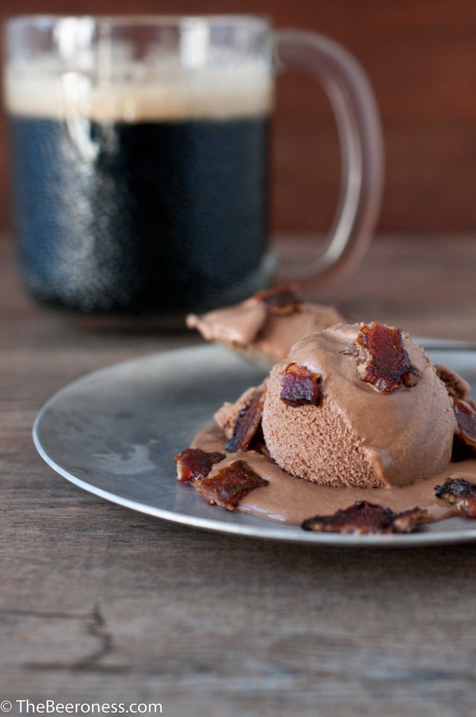 Smoky Porter Ice Cream with Beer Candied Bacon by The Beeroness