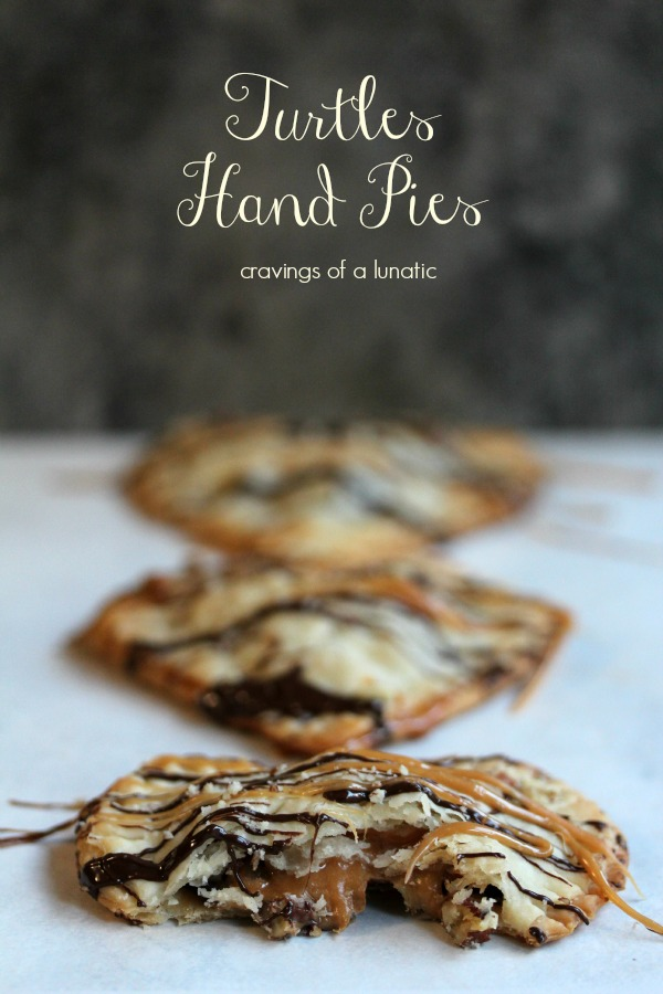 Turtles Hand Pies from cravingsofalunatic.com- Cute little heart shaped hand pies filled with caramel, chocolate, and pecans. Then just for an added bonus they are then topped with more caramel, more chocolate, and more pecans. It's Turtles heaven in a little hand pie!