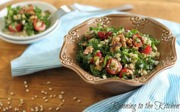 Barley Kale Cherry Salad by Running to the Kitchen
