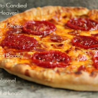Candied Tomato and Candied Bacon Pizza | Cravings of a Lunatic | #tomato #candiedtomato #bacon #candied bacon #pizza