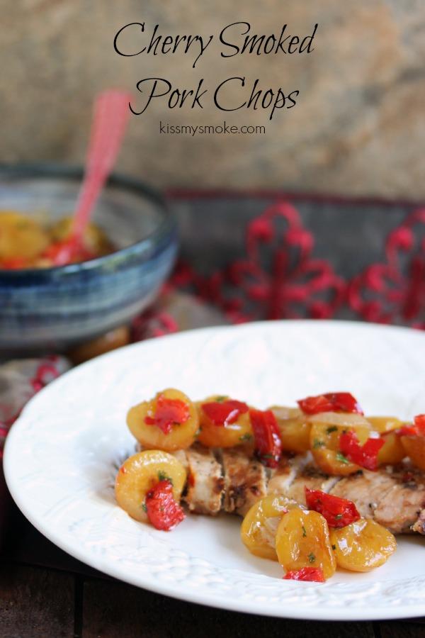 Cherry Smoked Pork Chops with Rainier Cherry Salsa | kissmysmoke.com | #grill #cherry #pork