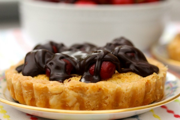 Chocolate Covered Cherry Almond Tarts by Karen's Kitchen Stories