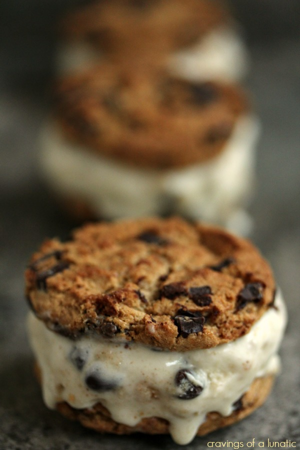 Cookie Dough Ice Cream Sandwiches | Cravings of a Lunatic | #icecreamweek #icecream #cookiedough #chocolate