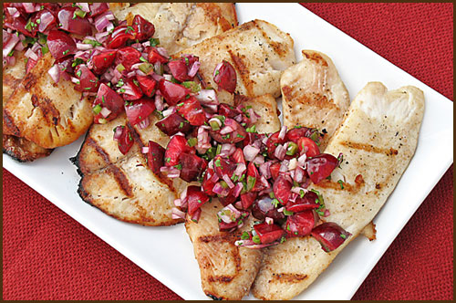 Grilled Tilapia Cherry Salsa by Very Culinary